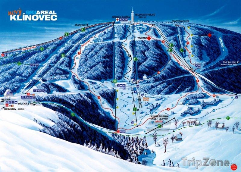 Fotka, Foto Mapa lyžařského areálu Klínovec