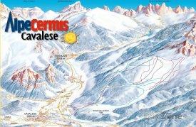 Mapa lyžařského střediska Cavalese