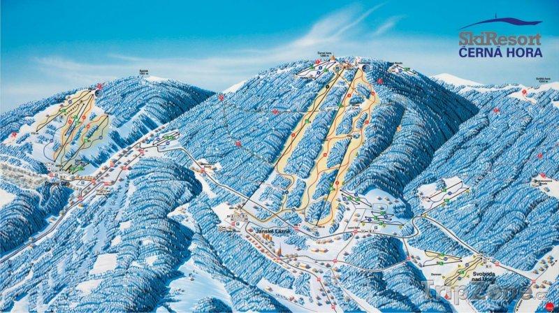 Fotka, Foto Mapa lyžařského střediska Černá hora