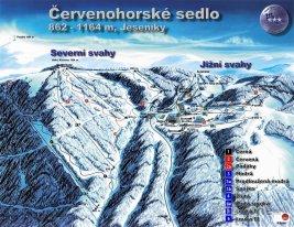 Mapa lyžařského střediska Červenohorské sedlo