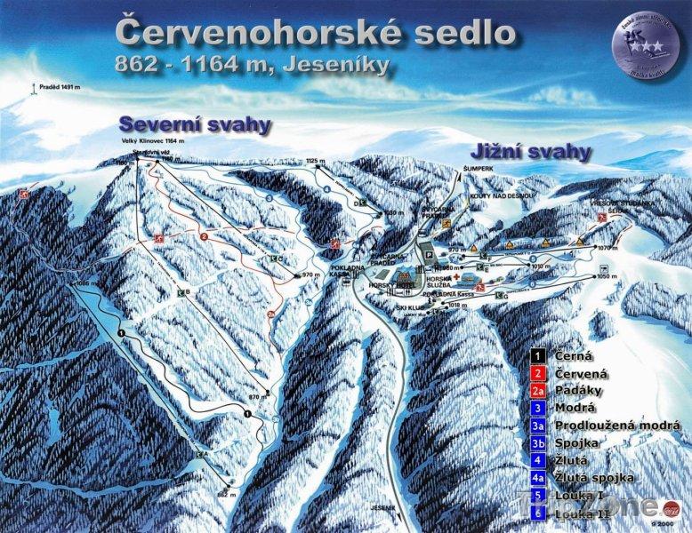 Fotka, Foto Mapa lyžařského střediska Červenohorské sedlo