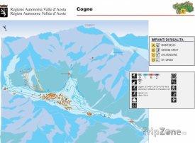 Mapa lyžařského střediska Cogne