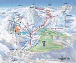 Mapa lyžařského střediska Gourette