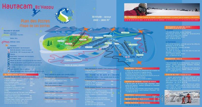 Fotka, Foto Mapa lyžařského střediska Hautacam