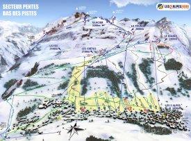 Mapa lyžařského střediska La Grave