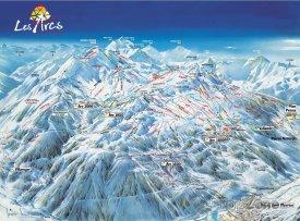 Mapa lyžařského střediska Les Arcs