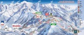 Mapa lyžařského střediska Les Houches