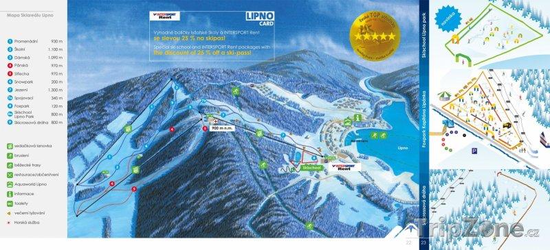 Fotka, Foto Mapa lyžařského střediska Lipno nad Vltavou