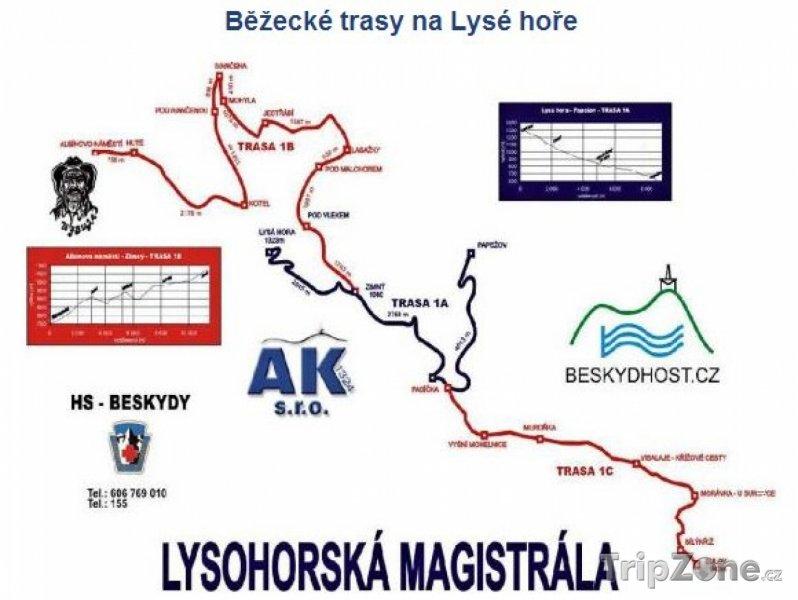 Fotka, Foto Mapa lyžařského střediska Moravskoslezské Beskydy - Lysá hora