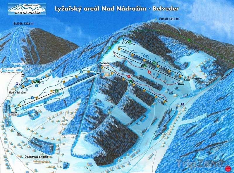 Fotka, Foto Mapa lyžařského střediska Nad Nádražím - Belveder