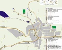 Mapa lyžařského střediska Osvětimany