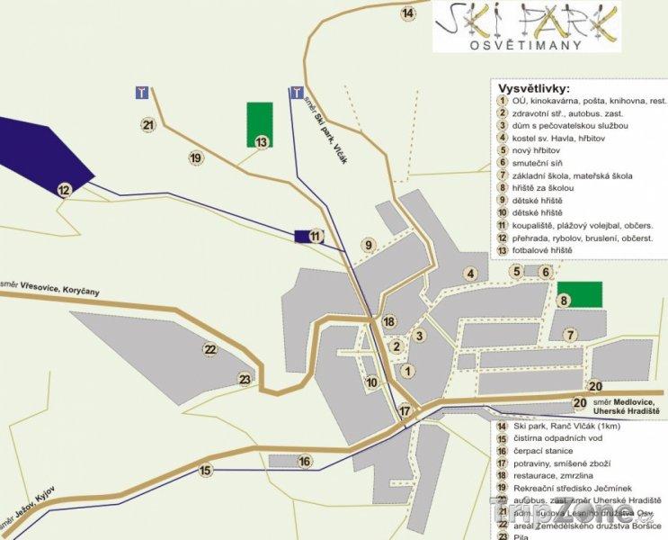 Fotka, Foto Mapa lyžařského střediska Osvětimany