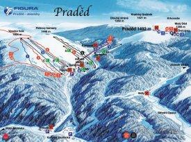 Mapa lyžařského střediska Praděd - Ovčárna