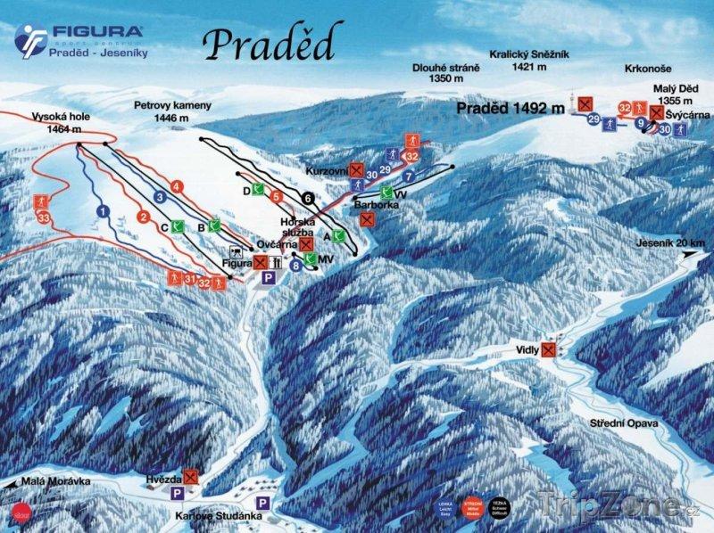 Fotka, Foto Mapa lyžařského střediska Praděd - Ovčárna
