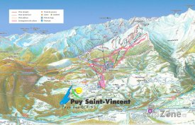 Mapa lyžařského střediska Puy Saint Vincent