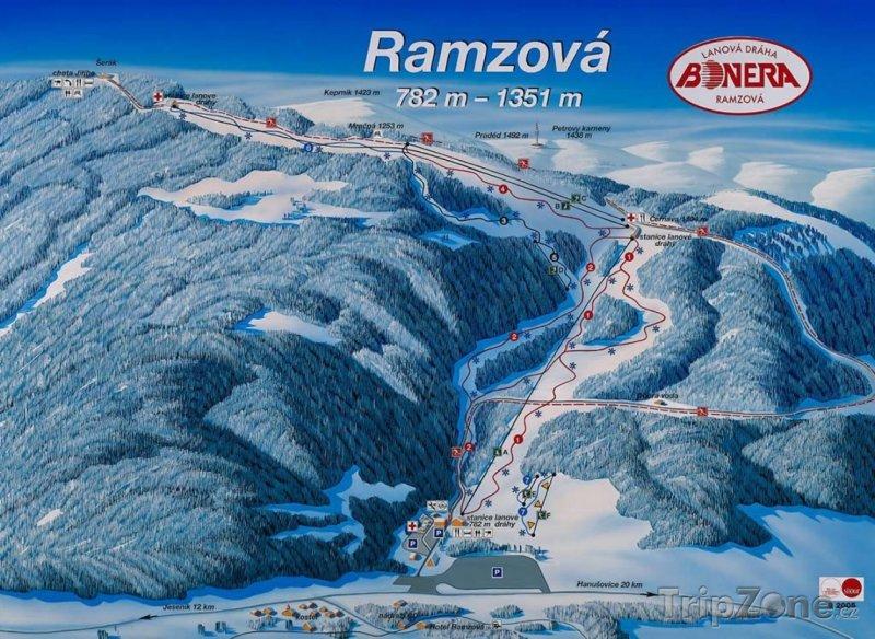 Fotka, Foto Mapa lyžařského střediska Ramzová