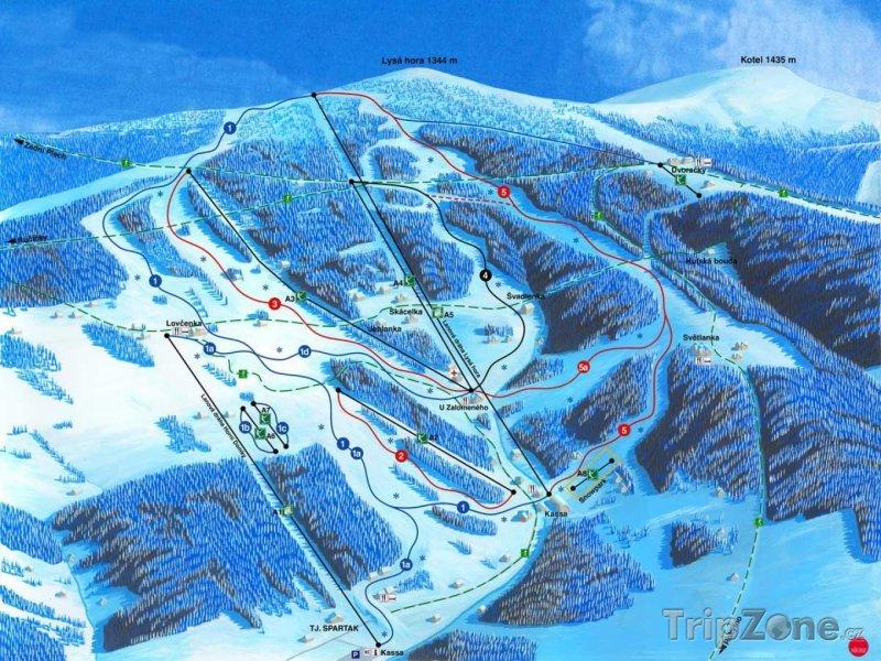 Fotka, Foto Mapa lyžařského střediska Rokytnice nad Jizerou