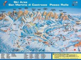 Mapa lyžařského střediska San Martino di Castrozza