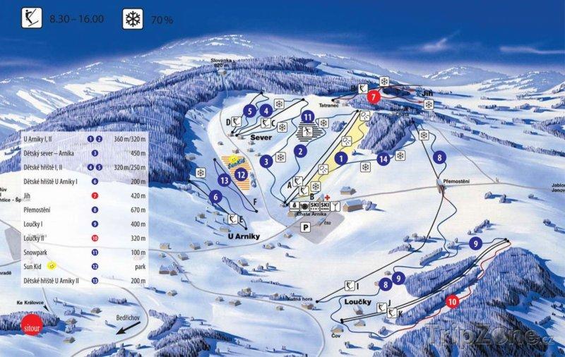 Fotka, Foto Mapa lyžařského střediska Severák