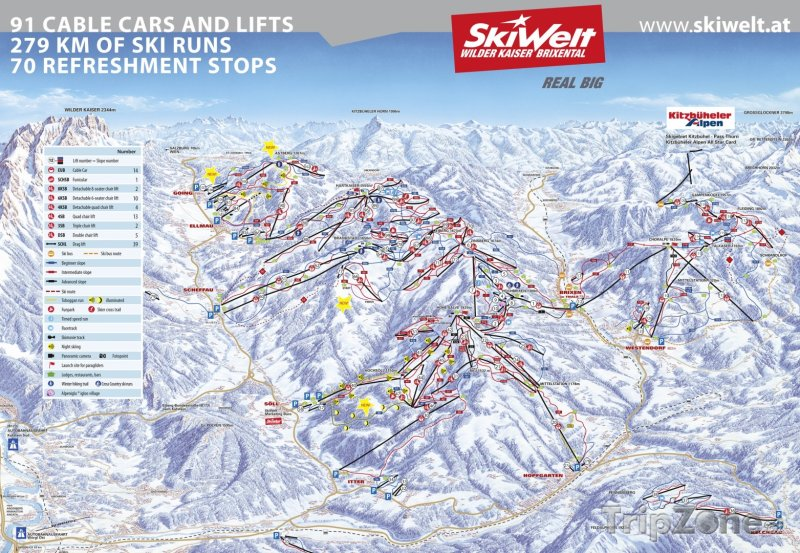 Fotka, Foto Mapa lyžařského střediska SkiWelt Wilder Kaiser-Brixental