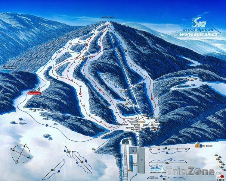 Fotka, Foto Mapa lyžařského střediska Špičák