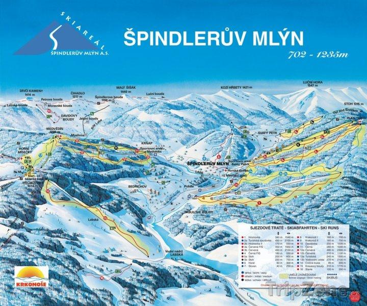 Fotka, Foto Mapa lyžařského střediska Špindlerův Mlýn