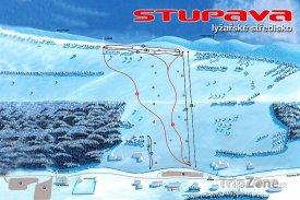Mapa lyžařského střediska Stupava