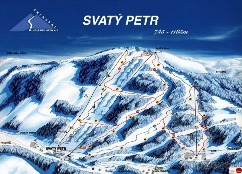 Fotka, Foto Mapa lyžařského střediska Svatý Petr