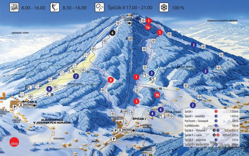 Fotka, Foto Mapa lyžařského střediska Tanvaldský Špičák