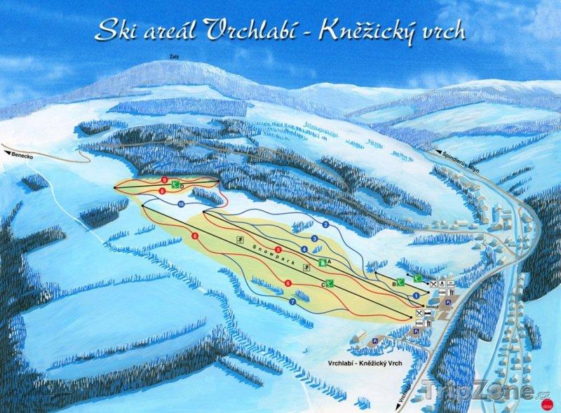 Fotka, Foto Mapa lyžařského střediska Vrchlabí
