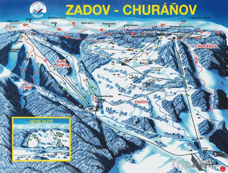 Fotka, Foto Mapa lyžařského střediska Zadov - Churáňov