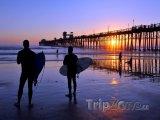 Surfaři u mola na pobřeží La Jolla