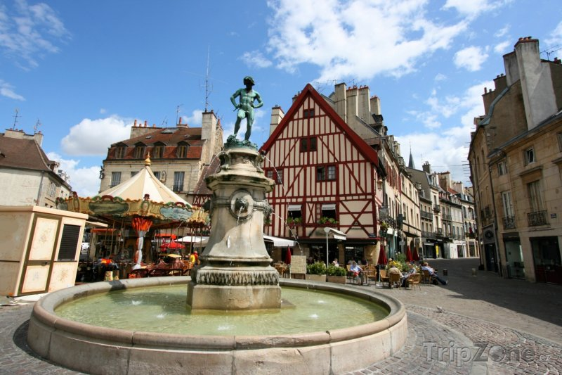 Fotka, Foto Dijon, fontána na náměstí Place Francois Rude (Francie)