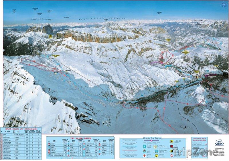Fotka, Foto Mapa lyžařského střediska Arabba (jih)