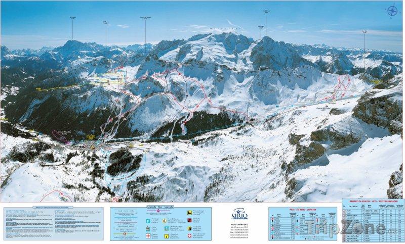 Fotka, Foto Mapa lyžařského střediska Arabba (sever)