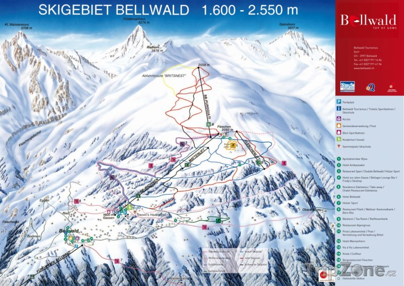 Fotka, Foto Mapa lyžařského střediska Bellwald