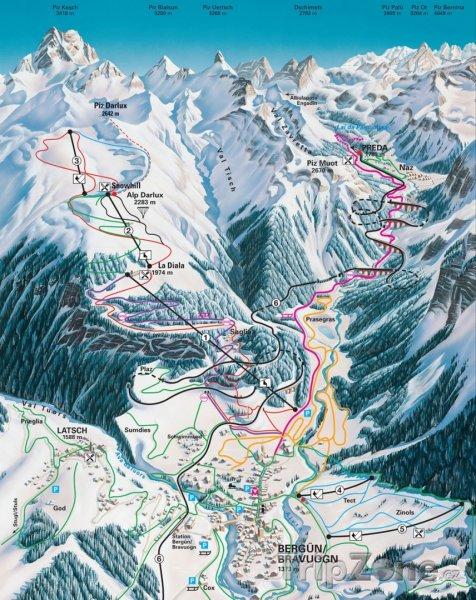 Fotka, Foto Mapa lyžařského střediska Bergün