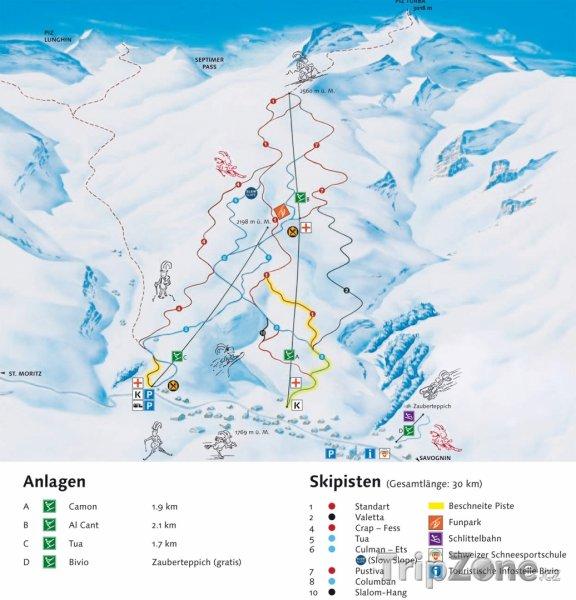 Fotka, Foto Mapa lyžařského střediska Bivio