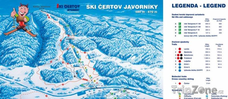 Fotka, Foto Mapa lyžařského střediska Čertov