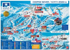 Mapa lyžařského střediska Chopok sever