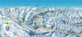 Mapa lyžařského střediska Engadin – St. Moritz
