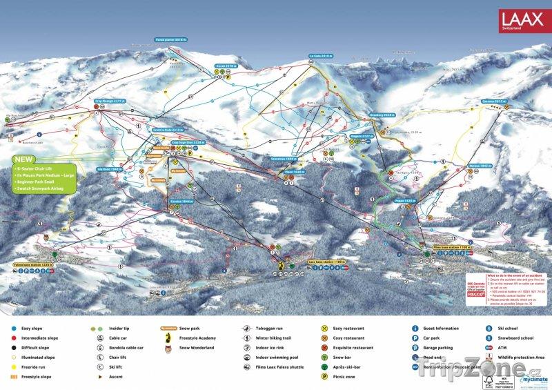 Fotka, Foto Mapa lyžařského střediska Flims-Laax-Falera