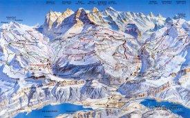 Mapa lyžařského střediska Grindelwald-First