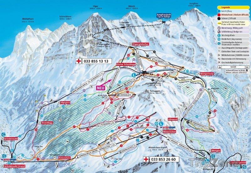 Fotka, Foto Mapa lyžařského střediska Kleine Scheidegg-Männlichen-Wengen