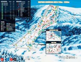 Mapa lyžařského střediska Kubínská hol'a