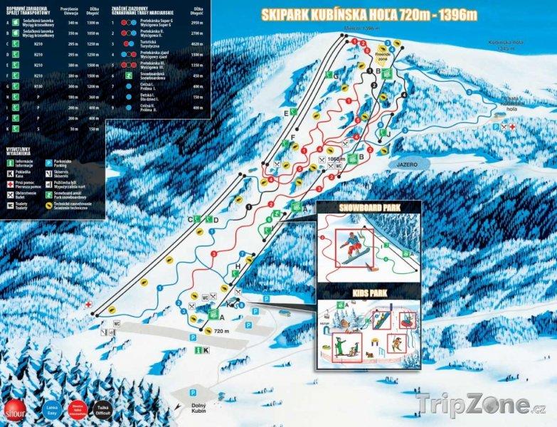 Fotka, Foto Mapa lyžařského střediska Kubínská hol'a