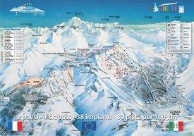 Mapa lyžařského střediska La Rosière - La Thuile