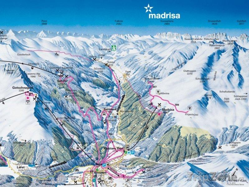 Fotka, Foto Mapa lyžařského střediska Madrisa
