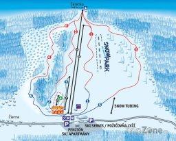 Mapa lyžařského střediska Makov
