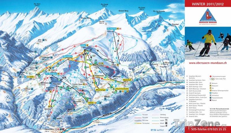 Fotka, Foto Mapa lyžařského střediska Obersaxen-Mundaun-Val Lumnezia